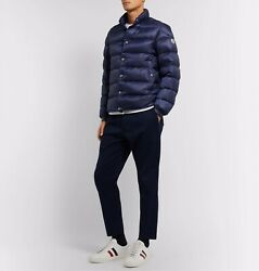 New Moncler Menand039s Piriac Down Puffer Quilted Jacket - Navy Blue - Large / 4