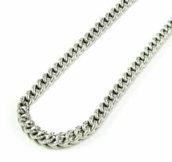 10k White Gold Solid Diamond Cut Franco Link Chain Necklace 16-30 2.8mm