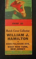 1940s William J Hamilton Match Cover Collector Fence Sexy Pinup West New York Nj