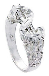 Men Women Sterling Silver Rhodium Plated Dollar Sign Band Nugget Ring 12mm