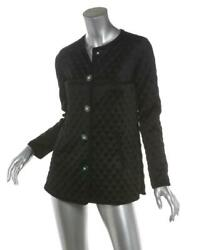 Womens Black Silk Quilted Cc Logo Crew-neck Blazer Jacket Us2 Fr34 New