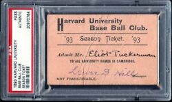 1893 Harvard University Base Ball Club Season Ticket Pass Psa/dna Authentic
