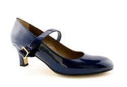 Anyi Lu Size 10.5 Tracy Royal Blue Patent Mary Janes Heels Pumps Shoes 41.5 Eur