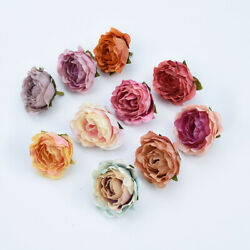 5pcs 4cm Silk Retro roses heads vases brooch gifts diy wall flowers artificial