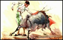 OAS CNY 5915 POSTCARD UN POSTED 1930 MADADORE AND BULL ARTIST SIGNED