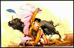OAS CNY 05918 POSTCARD UN POSTED 1930 MAtADORE AND BULL ARTIST SIGNED