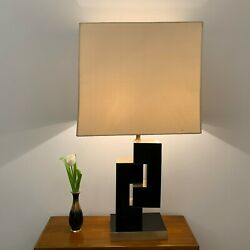 Philippe Jean Brushed Brass Finish Black Lucite Table Lamp Mid-century Modern