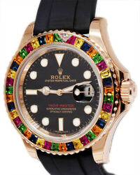 NEW Rolex Yacht-Master 40 18k Rose Gold Rainbow Watch BoxPapers 116695SATS