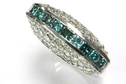 2.8 Ctw Natural Blue Diamond Solid 14k White Gold High Profile Statement Ring