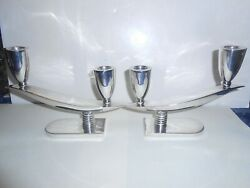 P Lopez G Signed Mid Century Art Deco Design Sterling Silver Candlesticks Look
