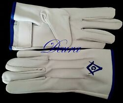 Masonic Embroidered White Lamb Skin Soft Gloves Blue G Square And Compass Xl Size