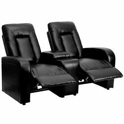 Flash Furniture 2-seat Reclining Black Leather Seating Unit With Cup Holders New