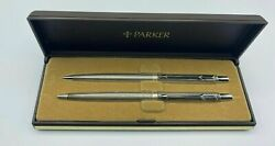 Parker Ambassodor Set Heavy Silver Plated Ballpoint Pen And 0.9 Pencil New In Box