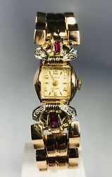 Retro 1970s Catena Yellow And Rose Gold With Rubies And Diamonds Ladies Watch
