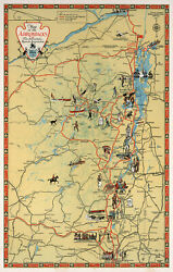 1929 Pictorial Map of the Adirondacks Wall Art Poster Artwork Home School Office