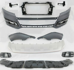 New 2016 - 2019 Q7 Front Bumper Cover Side Grille Valance Skid Plate 10pc Kit