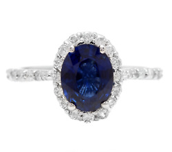 3.10ct Natural Blue Sapphire And Diamond 14k White Solid Gold Ring