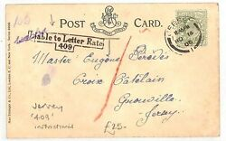Channel Islands Jersey Card Liable To Letter Rate 409 Instructional 1905 An89