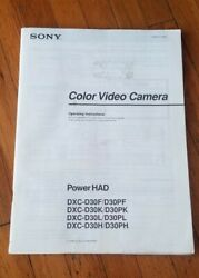 Sony Dxc-d30 Camera Operating Instructions English, French