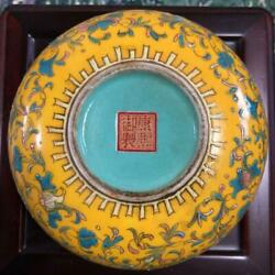 Japanese Antique Pottery Genuine Fine Art Collectible Yellow Green Free Shipping