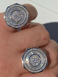 Large Real Solid 925 Sterling Silver Men#x27;s Baguette Diamond Pinky Ring Hip Hop $50.39