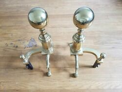 Antique Brass Fireplace Ball Andirons Heavy Cannon Vintage Feet Virginia Snake