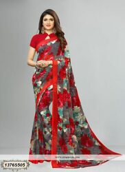 Gray & Red Floral Printed Bollywood Saree Party Wear Designer Sari