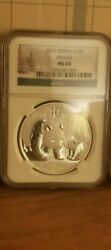 One Ounce Silver Coin 2011 China S10y Silver Panda Christmas Label Ngc Ms 69.999