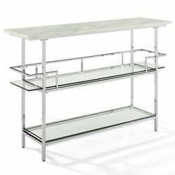 Crosley Aimee Faux Marble Top Home Bar in Chrome and White