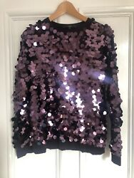Next Ladies Purple Sequin Disc Embellished Party Evening Jumper Size 10