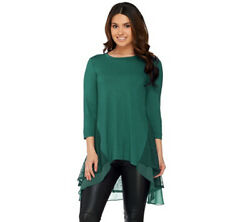 A258918 LOGO by Lori Goldstein Knit Top with Embroidered Mesh Detail(99-100)