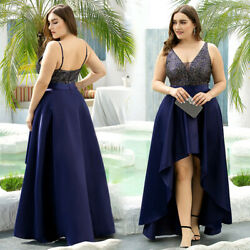 Ever-Pretty US Plus Size V-neck Long Evening Prom Dress High Low Celebrity Gowns