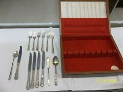 State House Inaugural Sterling Silverware 14 Piece In Walnut Case 671 Grams