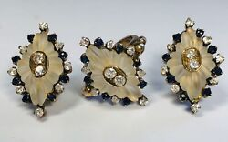 Antique 1920s 14k Gold French Glass With Diamond And Sapphire Ring Earrings Set
