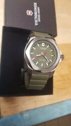 Victorinox I.n.o.x. Green Dial Silicone Strap Menand039s Watch 241683.1