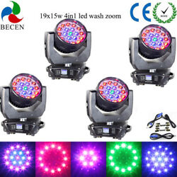 4pcs 19x15w Rgbw 4in1 Aura Led Zoom Moving Head Light Dj Stage Lights From Us
