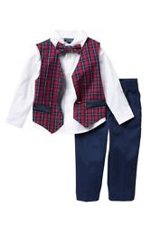 Boys Nautica 4 Piece Set With Dress Shirts, Vests, Pants, And Bow Ties Size 6