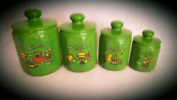 1970's Kromex Canisters Green Farmhouse Chickens And Coffee