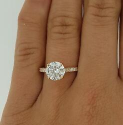 1.3 Ct Pave 4 Prong Round Cut Diamond Engagement Ring Vs1 D Rose Gold 14k