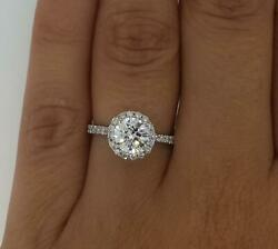 1.85 Ct Pave Halo Round Cut Diamond Engagement Ring Si1 G White Gold 18k
