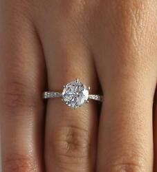 1.7 Ct Pave 6 Prong Round Cut Diamond Engagement Ring Vs2 F White Gold 18k