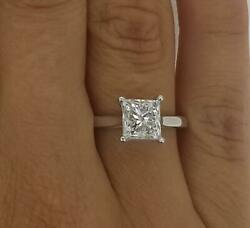 1 Ct Cathedral Solitaire Princess Cut Diamond Engagement Ring Vs2 H White Gold