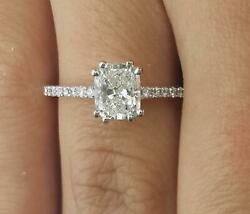 1.5 Ct Double Claw Pave Cushion Cut Diamond Engagement Ring Vs1 H White Gold 14k