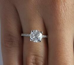 2.25 Ct Pave 4 Prong Round Cut Diamond Engagement Ring Si1 D White Gold 14k