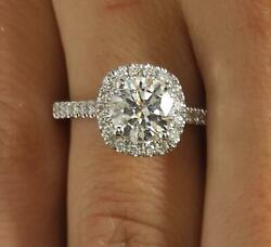 2.05 Ct Pave Halo Round Cut Diamond Engagement Ring Si1 F White Gold 14k
