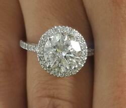 4.1 Ct Cathedral Pave Round Cut Diamond Engagement Ring Vs1 D White Gold 18k