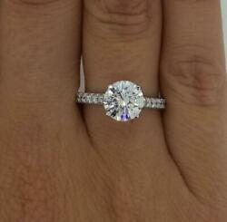 2.25 Ct Classic Pave Round Cut Diamond Engagement Ring Si2 H White Gold 14k