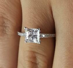 1.5 Ct Pave Cathedral Princess Cut Diamond Engagement Ring Si1 F White Gold 14k