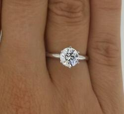 1.5 Ct Classic 6 Prong Round Cut Diamond Engagement Ring Si1 D White Gold 14k