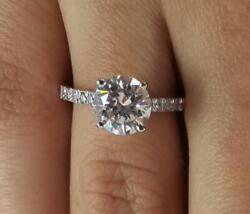 3.25 Ct Cathedral 4 Prong Round Cut Diamond Engagement Ring Si1 F White Gold 18k